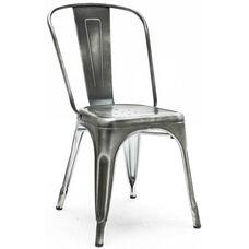 Dreux Vintage Dark Grey Stackable Steel Armless Side Chair - Set of 4
