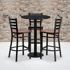 30'' Round Black Laminate Table Set with Ladder Back Metal Barstool and Cherry Wood Seat, Seats 3