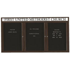 3 Door Outdoor Illuminated Enclosed Directory Board with Header and Bronze Anodized Aluminum Frame - 36