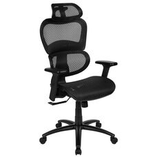 Ergonomic Mesh Office Chair with 2-to-1 Synchro-Tilt, Adjustable Headrest, Lumbar Support, and Adjustable Pivot Arms in Black