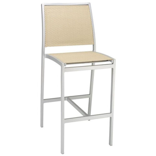 Our South Beach Collection Aluminum Outdoor Armless Barstool with Textile Back and Seat - Light Basket is on sale now.