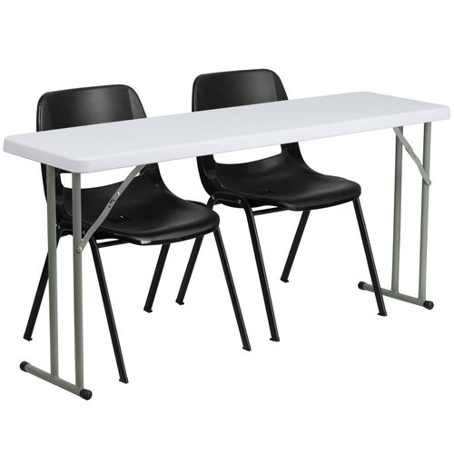 5-Foot Plastic Folding Training Table Set with 2 Black Plastic Stack Chairs
