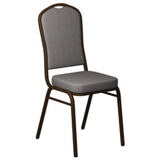 Embroidered Crown Back Banquet Chair in Shire Greystone Fabric - Gold Vein Frame