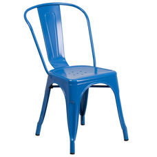 Commercial Grade Blue Metal Indoor-Outdoor Stackable Chair