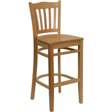 Natural Wood Finished Vertical Slat Back Wooden Restaurant Barstool