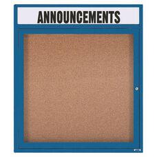 1 Door Indoor Illuminated Enclosed Bulletin Board with Header and Blue Powder Coated Aluminum Frame - 36