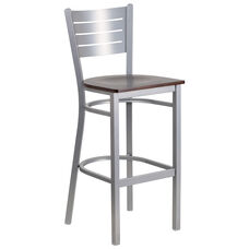 Silver Slat Back Metal Restaurant Barstool with Walnut Wood Seat