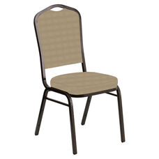 Embroidered Crown Back Banquet Chair in Harmony Ramie Fabric - Gold Vein Frame