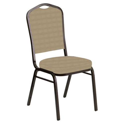 Our Embroidered Crown Back Banquet Chair in Harmony Ramie Fabric - Gold Vein Frame is on sale now.