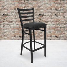 HERCULES Series Black Ladder Back Metal Restaurant Barstool - Black Vinyl Seat
