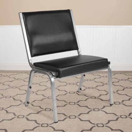 HERCULES Series 1500 lb. Rated Black Antimicrobial Vinyl Bariatric Antimicrobial Medical Reception Chair