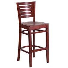 Mahogany Finished Slat Back Wooden Restaurant Barstool