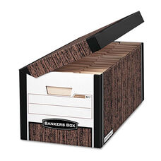 Bankers Box® SYSTEMATIC Med-Duty Storage Boxes - Letter - 12-1/8 x 24 x 10 - Woodgrain - 12/CT