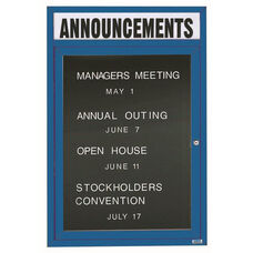 1 Door Indoor Illuminated Enclosed Directory Board with Header and Blue Anodized Aluminum Frame - 48