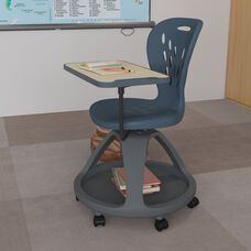 Dark Gray Mobile Desk Chair with 360 Degree Tablet Rotation and Under Seat Storage Cubby