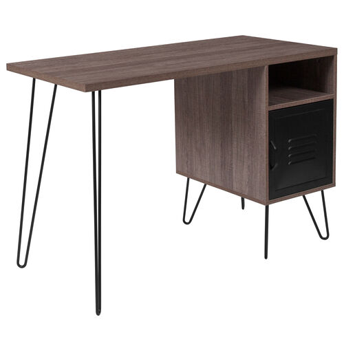 Our Woodridge Collection Rustic Wood Grain Finish Computer Desk with Metal Cabinet Door and Black Metal Legs is on sale now.