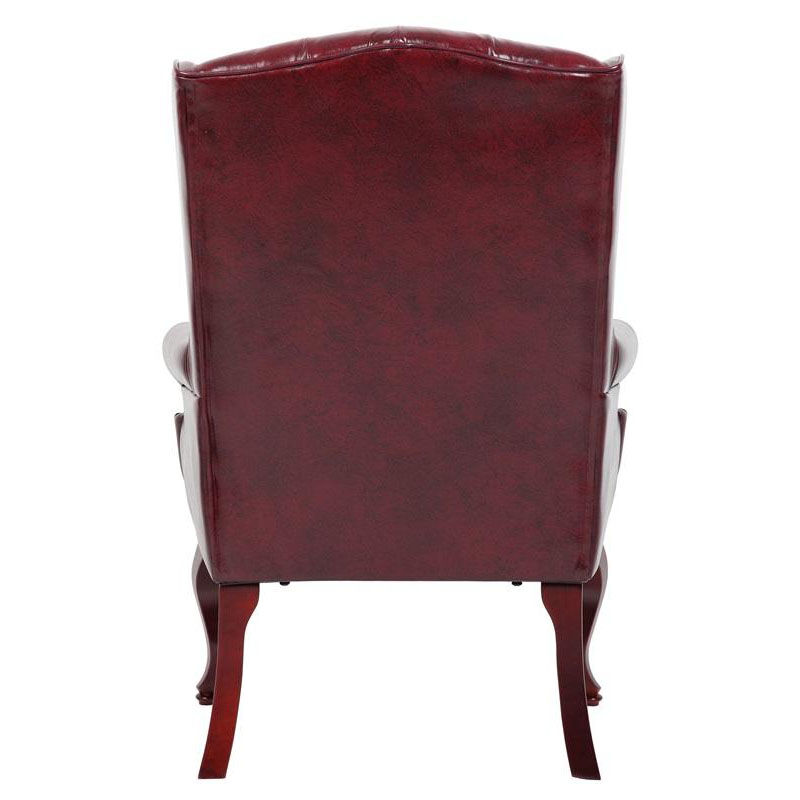 Our Traditional Button Tufted Wing Back Guest Chair   Oxblood Vinyl Is On  Sale Now.