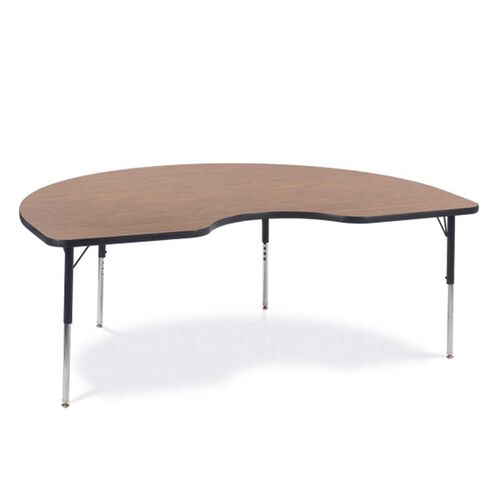 Quick Ship 4000 Series Adjustable Height Kidney Top Laminate Activity Table with Medium Oak Top - 48