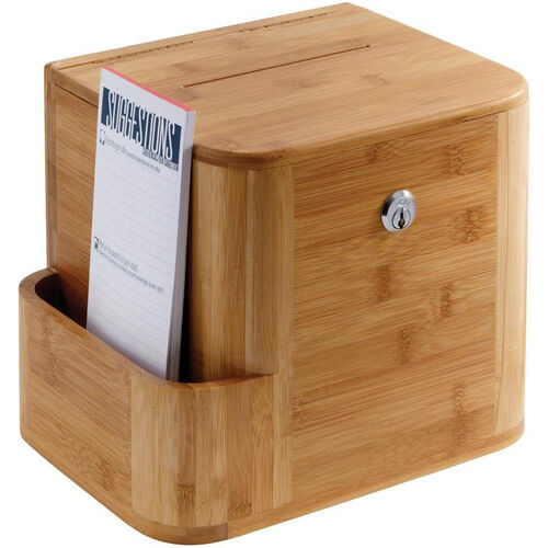 Our Bamboo Suggestion Box with Acrylic Display and Side Compartment - Natural is on sale now.