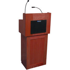 Oxford Two Piece Wired 50 Watt Sound Lectern - Mahogany Finish - 22