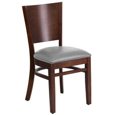 Walnut Finished Solid Back Wooden Restaurant Chair with Custom Upholstered Seat
