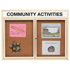 2 Door Indoor Illuminated Enclosed Bulletin Board with Header and Ivory Powder Coated Aluminum Frame - 48