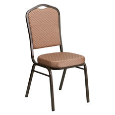 HERCULES Series Crown Back Stacking Banquet Chair in Gold Diamond Patterned Fabric - Gold Vein Frame