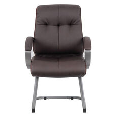 Double Plush Executive Guest Chair with Padded Arms - Brown