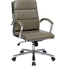 Work Smart Mid Back Executive Faux Leather Chair with Polished Chrome Finish - Smoke
