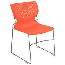 HERCULES Series 661 lb. Capacity Orange Full Back Stack Chair with Gray Powder Coated Frame