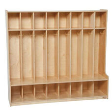 8-Section Seat Lockers with Two Coat Hooks in Each Section - Assembled - 54