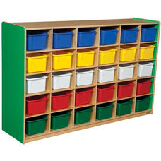 Wooden Storage Unit with 30 Assorted Plastic Trays - Green Apple - 58