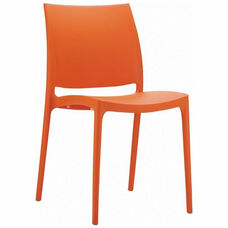 Maya Outdoor Polypropylene Stackable Dining Chair - Orange