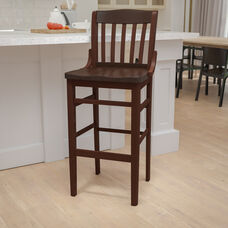 Walnut Finished School House Back Wooden Restaurant Barstool